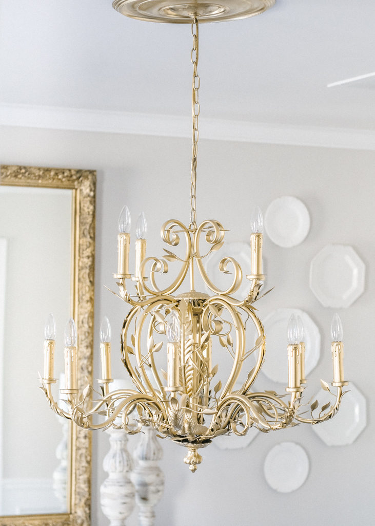 Diy Gold Spray Painted Chandelier Home And Hallow