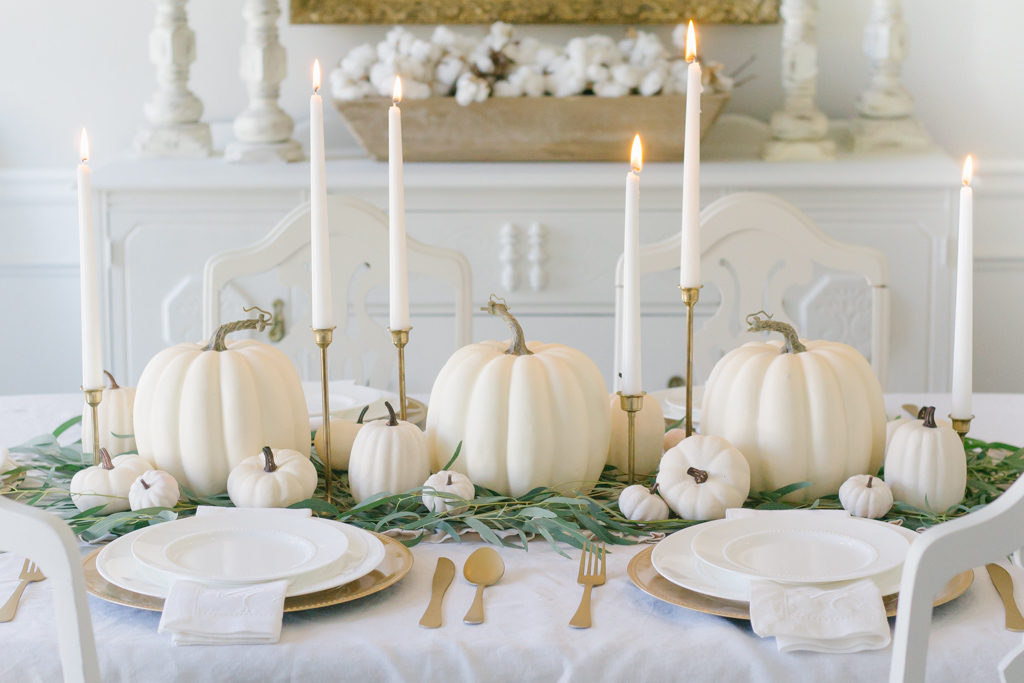 neutral fall tablescape white pumpkins