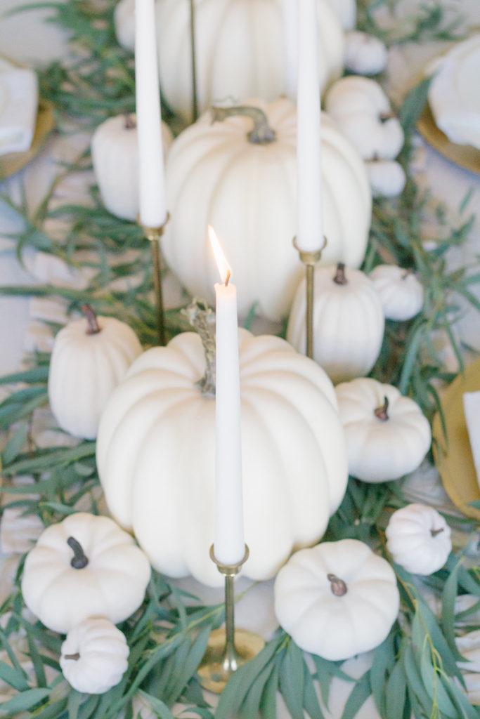 neutral fall tablescape white pumpkins