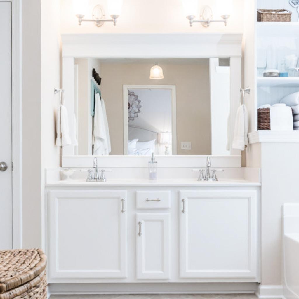 Diy How To Frame A Builder Grade Bathroom Mirror Home And Hallow